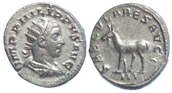 Ancient Coins - Philip II as Augustus, AD 247 to 249. Silver antoninianus.