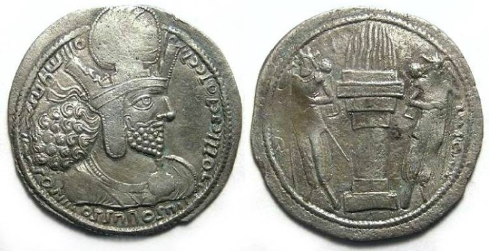 Ancient Coins - Sassanian. Shapur I, AD 240 to 270. Silver drachm