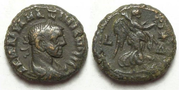 Ancient Coins - Alexandria, Maximianus, AD 286 to 305, Yr-4 potin tetradrachm. 18.5 mm.