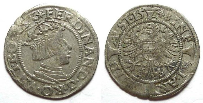Ancient Coins - Austria, Ferdinand I, AD 1521 to 1564.  Silver Groschen.  Dated 1548.