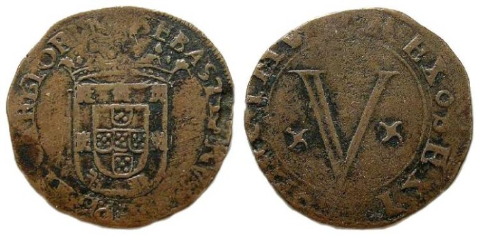 Ancient Coins - Portugal.  Sebastiao I, AD 1557 to 1578.  5 Redis.