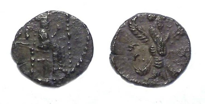 Ancient Coins - Samaria. ca. 375 to 333 BC. Silver obol.   Rare type.