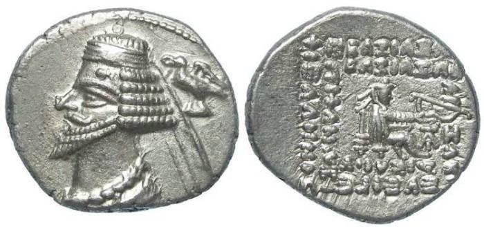 Ancient Coins - Parthia, Phraates IV, 38 to 2 BC. Silver drachm.