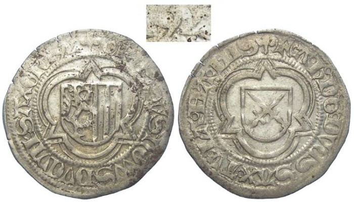 World Coins - Germany, Saxony.  Silver half groschen DATED 1492.