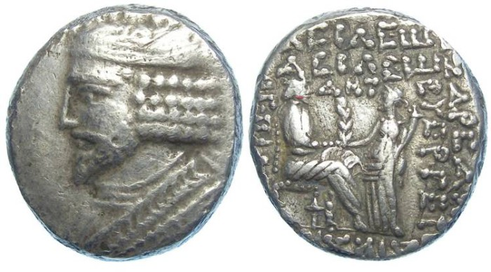 Ancient Coins - Parthia, Vardanes I, AD 40 to 45. Billon tetradrachm.