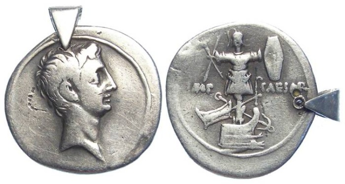 Ancient Coins - Octavian. ca. 30 to 29 BC. Silver denarius. Holed with a small bale for wearing.