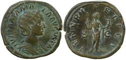 Ancient Coins - Julia Mamaea, AD 222 to 235. AE Sestertius. Mother of Severus Alexander