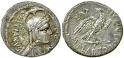 Ancient Coins - Roman Republic. M. Plaetorius M.f. Cestianus. ca. 57 BC. Silver denarius