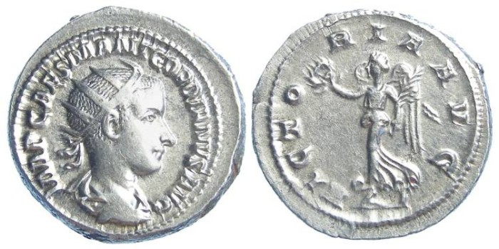 Ancient Coins - Gordian III, AD 238-244. Silver Antoninianus.