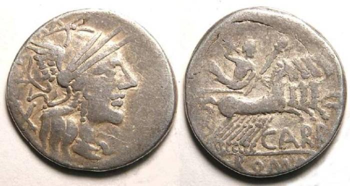 Ancient Coins - CN Papirius Carbo. ca. 121 BC. Silver denarius.