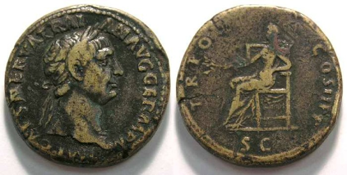Ancient Coins - Trajan, AD 98 to 117, Bronze sestertius