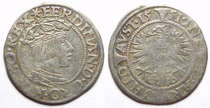 Ancient Coins - Austria, Ferdinand I, AD 1521 to 1564. Silver Groschen. Dated 1551.