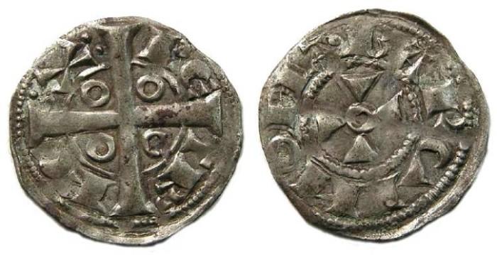 Ancient Coins - Spain, Catalunya.  Peter I, AD 1196-1212.  Silver Denar.