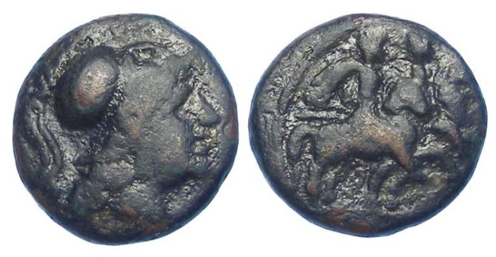Ancient Coins - Caelia in Apulla (Italy), ca. 268 to 200 BC.  AE 12.