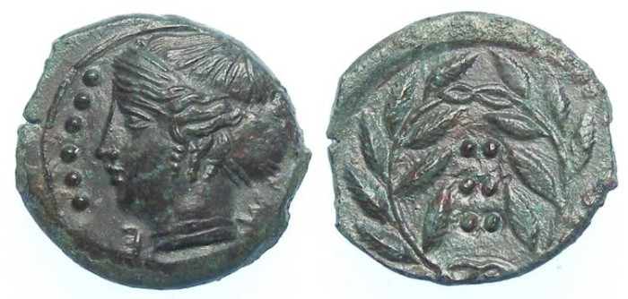 Ancient Coins - Himera in Sicily. before 407 BC. AE hemilitron.