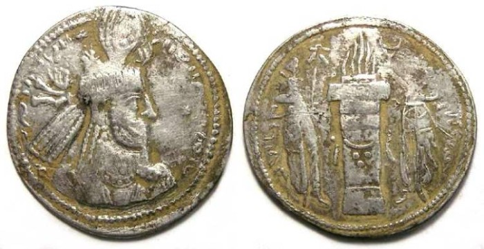 Ancient Coins - Sassanian. Narseh, AD 293 to 302. Silver drachm