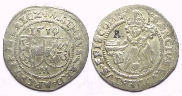 Ancient Coins - Austria. Salzburg. Matthaus Lang von Wellenburg, AD 1519. Silver Batzen.