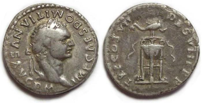 Ancient Coins - Domitian as Augustus, AD 81. Silver denarius