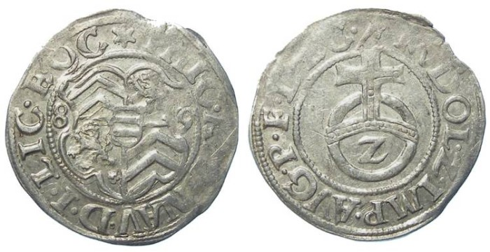 World Coins - Germany, Hanau-Lichtenberg.  Philipp V, AD 1570 to 1599 (dated 1589).  Silver 1/2 batzen.