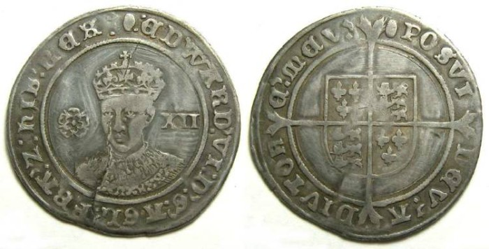 Ancient Coins - English, Edward VI, AD 1547 to 1553. Silver shilling.
