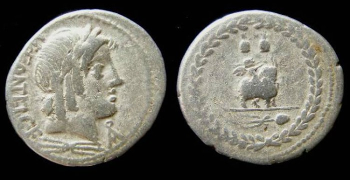 Ancient Coins - Roman Republic. Mn Fonteius C.f. ca. 85 BC.