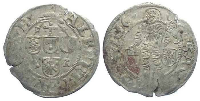 World Coins - Germany, Magdeberg Bishopric. Albrecht of Brandenburg, AD 1513 to 1545. Half Groschen. Dated 1540.