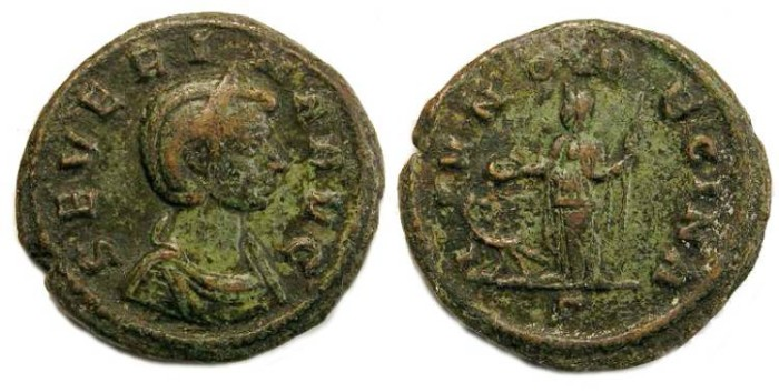 Ancient Coins - Severina. AD 270 to 275. Copper As.
