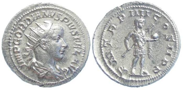 Ancient Coins - Gordian III, AD 238-244. Silver Antoninianus. Medallic strike.