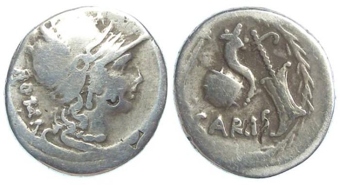 Ancient Coins - Roman Republic. T. Carisius. ca. 46 BC. Silver Denarius.