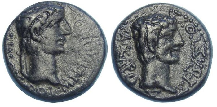 Ancient Coins - Kings of Thrace.  Rhoemetlkes I, 11 BC to 12 AD, with Augustus. AE 18.