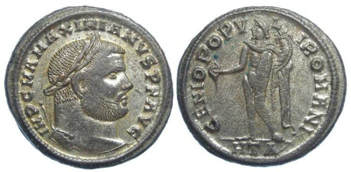 Ancient Coins - Maximianus, AD 286 to 310. AE follis.  Fully centered.