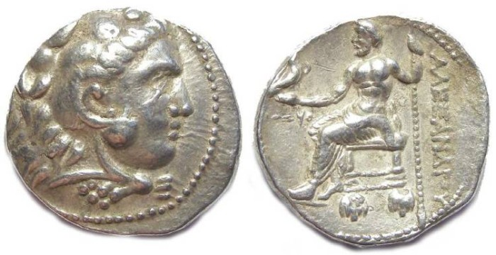 Ancient Coins - Macedonian Kingdom, Alexander the Great, 336 to 323 BC. Silver dated tetradrachm from Ake.