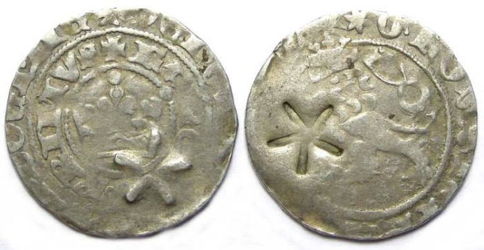 Ancient Coins - Germany. Schwaben confederation  star countermark on a Prager Groshsen of Karl I of Bohemia. AD 1346-1378.