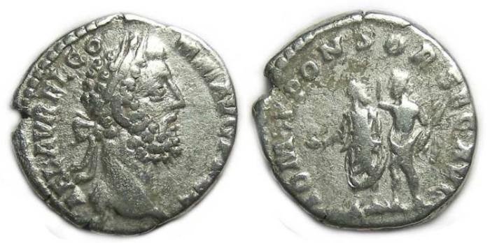 Ancient Coins - Commodus as sole Emperor, AD 180 to 192. Silver denarius.