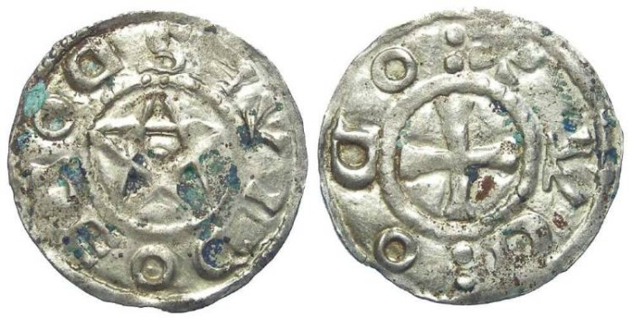 World Coins - French Feudal. Deols, Eudee L'Ancien. AD 1012 to 1044. Silver denier.  Rare variety with retrograde inscriptions.