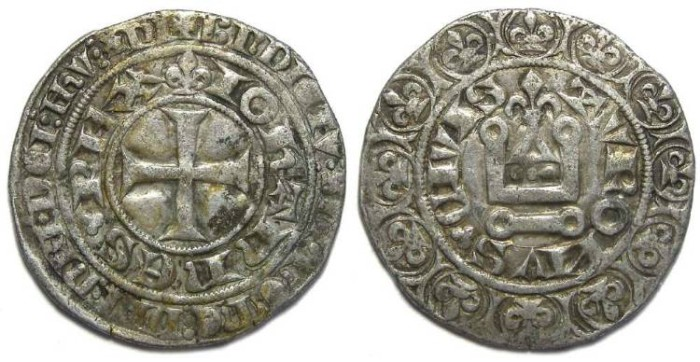 Ancient Coins - France. Jean II la Bon, AD 1350 to 1364.  Silver gros tournois.