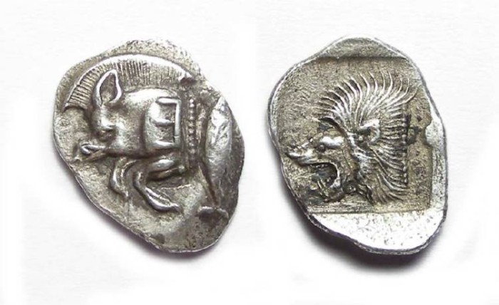 Ancient Coins - Kyzikos in Mysia. ca. 480 to 450 BC. Silver obol. Backwards E on shoulder.