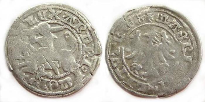 Ancient Coins - Lithuania . Alexander Jagiello, AD 1492 to 1506. Silver 1/2 Groschen.