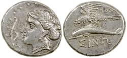 Ancient Coins - Sinope in Paphlagonia.  330 to 300 BC.  Silver drachm.  Exceptional reverse.