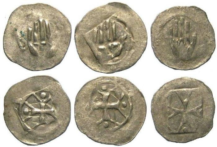 Ancient Coins - German, City of Hall. Anonymous 14th to 15th century. Silver hand Heller.  DEALER LOT OF 3 COINS.