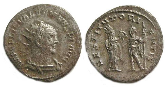 Ancient Coins - Valerian I, AD 253 to 260.  Billon Antoninianus