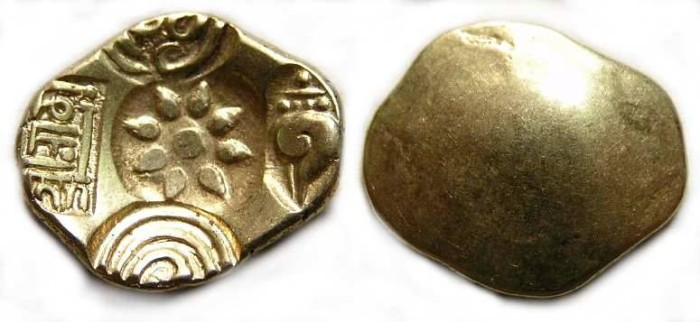 Ancient Coins - India, Yadavas of Devagiri. Ramachandra, AD 1270 to 1311. Gold stater.
