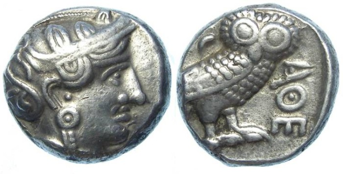 Ancient Coins - South Arabia. Kings of Qataban. ca. 4th to 3rd century BC. Silver tetradrachm.
