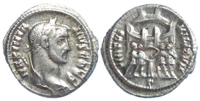Ancient Coins - Galerius as Caesar, AD 293 to 305. Silver Argentius.