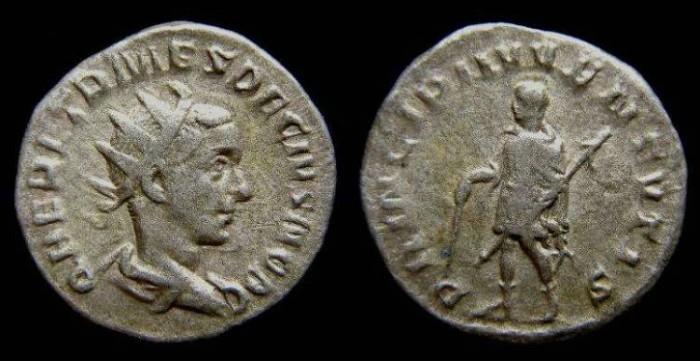 Ancient Coins - Herennius Etruscus as Caesar, AD 250 to 251. Silver Antoninianus