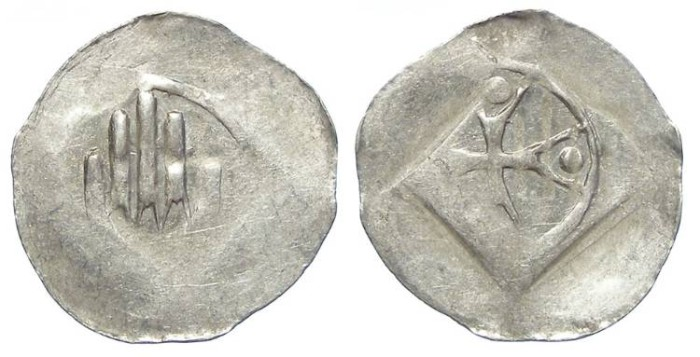 Ancient Coins - German, City of Hall. Anonymous 14th to 15th century. Silver hand Heller.