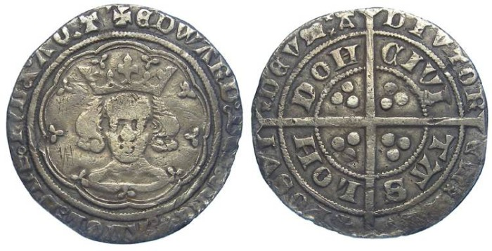 Ancient Coins - English, Edward III, AD 1327 to 1377. Silver groat.