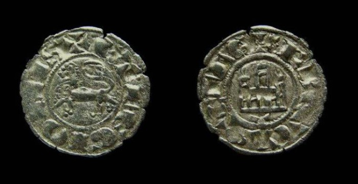 Ancient Coins - Spain, Castile & Leon. Fernando IV, AD 1295-1312. Billon Pepion.
