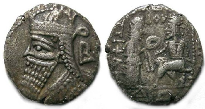Ancient Coins - Parthia, Vologases IV AD 147 to 191. Billon tetradrachm.