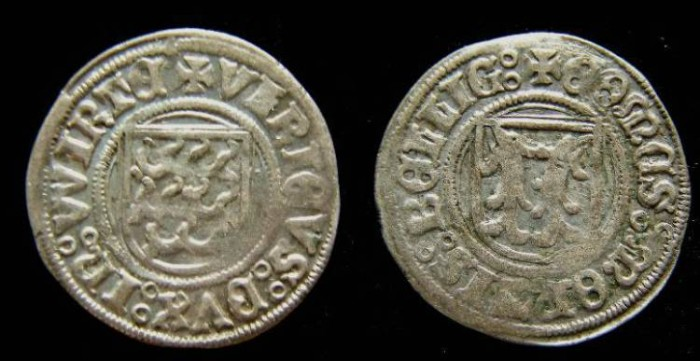 Ancient Coins - Franco-Prussian, Wurttenburg-Montbeliard. Duke  Ulrich, AD 1498 to 1519. Silver Kurtling.